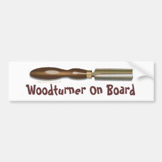 Roughing Gouge Woodturner On Board Bumper Sticker