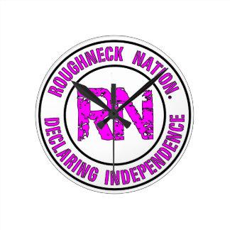 ROUGHNECK NATION LOGO ROUND CLOCK