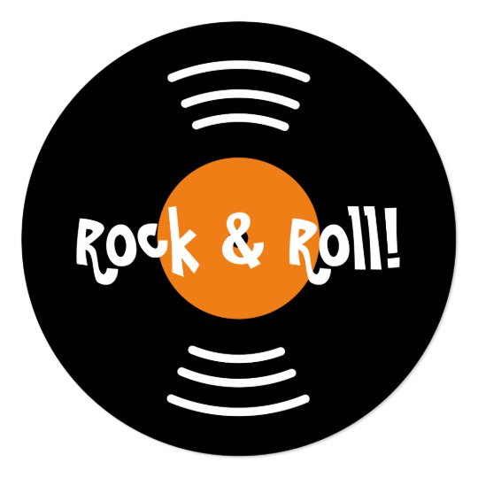 Round 60s Rock And Roll Birthday Party Invitations
