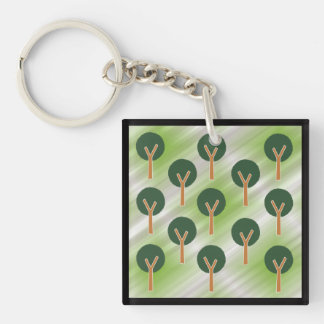 Round Abstract Trees Key Ring