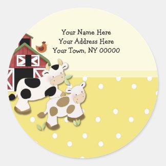 Round Address Labels Baby Moo Cow Yellow Round Sticker