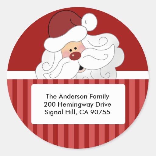 ROUND ADDRESS LABELS Cute Santa Claus Holiday Sticker