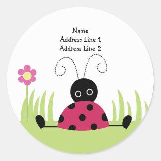 ROUND ADDRESS LABELS Little Ladybug Classic Round Sticker