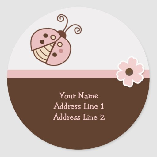 Round Address Labels PINK TRENDY LADYBUG Round Stickers