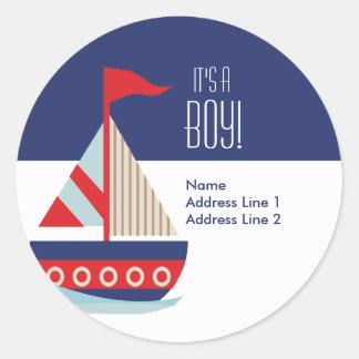 Round Address Labels - Sailing Sailboat Blue