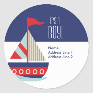 Round Address Labels - Sailing Sailboat Blue Round Sticker