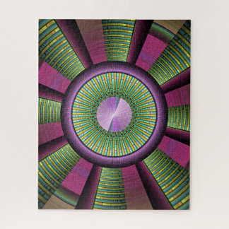 Round And Colorful Modern Decorative Fractal Art Jigsaw Puzzle