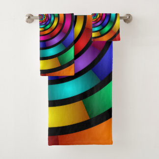 Round and Psychedelic Colorful Modern Fractal Art Bath Towel Set