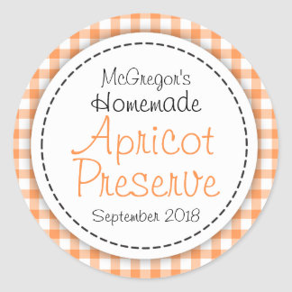 Round apricot preserve jam orange food label