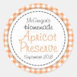 Round apricot preserve jam orange food label round stickers