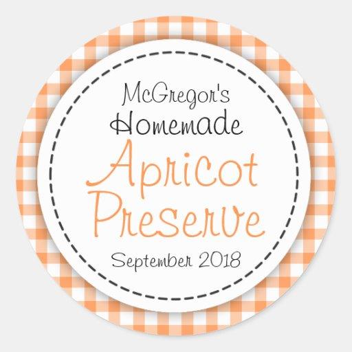 Round apricot preserve jam orange food label stickers