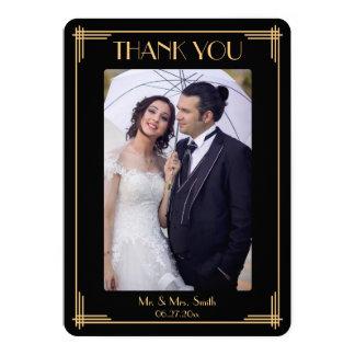 Round Art Deco Great Gatsby Thank You Wedding Card 13 Cm X 18 Cm Invitation Card