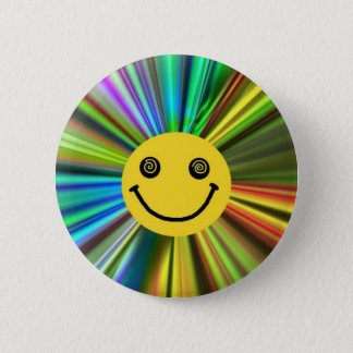 Round badge smiley face rainbow