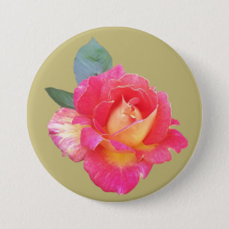 Round Badge with Rose on Light Green Background