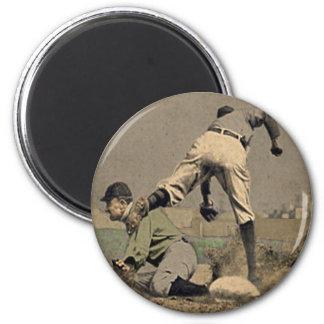 Round Baseball Fridge Magnet In Cool Retro Style
