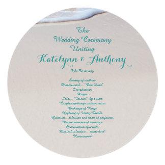 Round Beach Wedding Ceremony Program Template Announcement