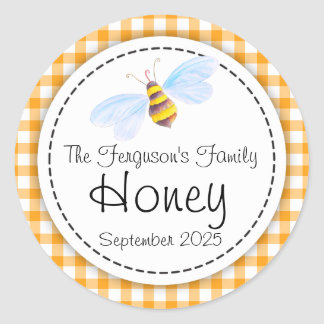 Round bee art honey orange jar top label round sticker