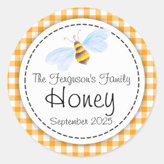 Round bee art honey orange jar top label round sticker