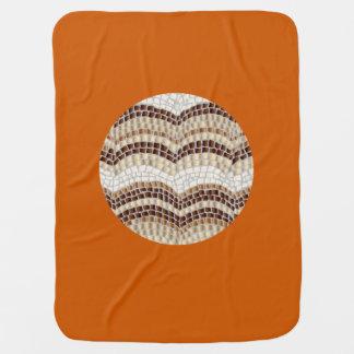 Round Beige Mosaic Baby Blanket