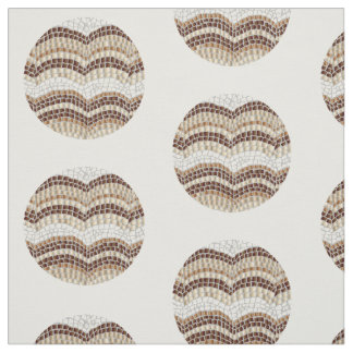 Round Beige Mosaic Combed Cotton Fabric