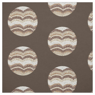 Round Beige Mosaic Combed Cotton Fabric
