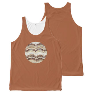 Round Beige Mosaic Tank Top All-Over Print Tank Top