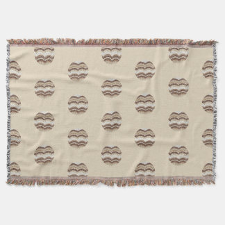 Round Beige Mosaic Throw Blanket