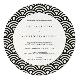 Round Black + White Japanese Waves Wedding Card
