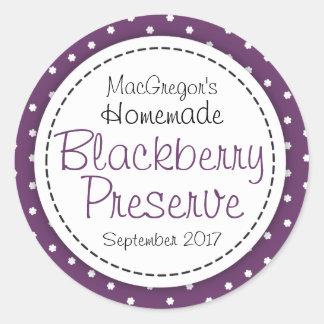 Round blackberry preserve or jam jar food label round sticker