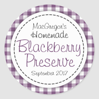 Round blackberry preserve or jam jar food label round sticker