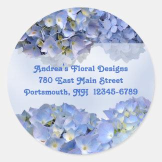 Round Blue Floral Return Address Labels Round Sticker