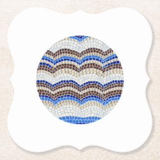 Round Blue Mosaic Bracket Paper Coaster