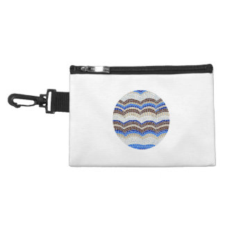 Round Blue Mosaic Clip On Accessory Bag