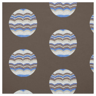 Round Blue Mosaic Combed Cotton Fabric