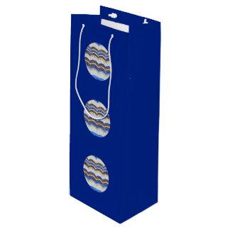Round Blue Mosaic Glossy Wine Bag