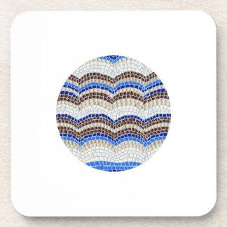 Round Blue Mosaic Hard Plastic Coaster