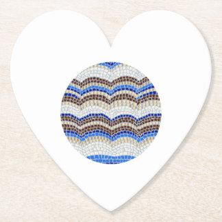 Round Blue Mosaic Heart Paper Coaster