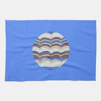 Round Blue Mosaic Kitchen Towel