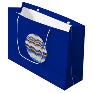 Round Blue Mosaic Large Glossy Gift Bag