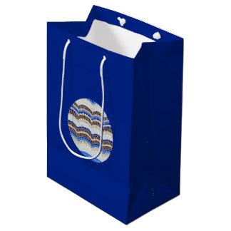 Round Blue Mosaic Medium Glossy Gift Bag