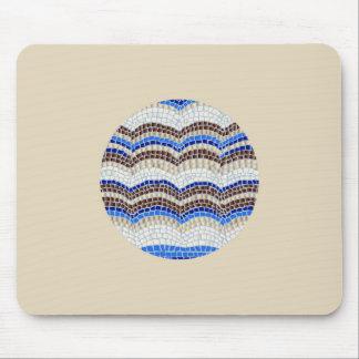 Round Blue Mosaic Mousepad