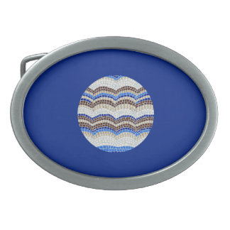 Round Blue Mosaic Oval Belt Buckle