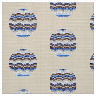 Round Blue Mosaic Polyester Poplin Fabric