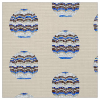 Round Blue Mosaic Polyester Weave Fabric