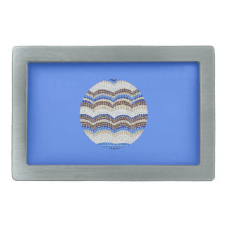 Round Blue Mosaic Rectangle Belt Buckle