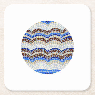 Round Blue Mosaic Square Paper Coaster