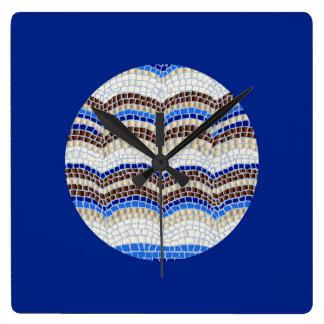 Round Blue Mosaic Square Wall Clock