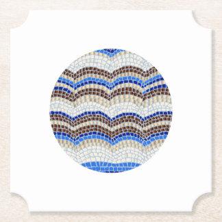 Round Blue Mosaic Ticket Paper Coaster
