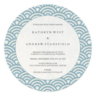 Round Blue + White Wave Pattern Wedding Invitation