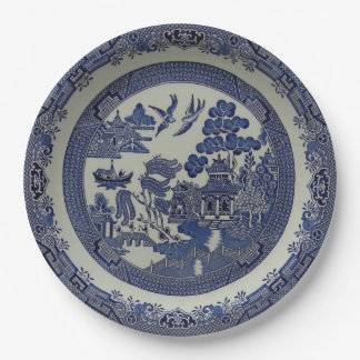Round Blue Willow Plates Made of Paper:  9 inches 9 Inch Paper Plate